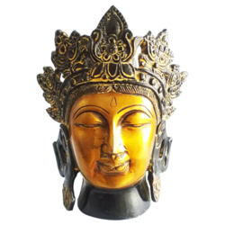 Golden with Black Coated Brass Buddha Face Statue size - 6.5x8In - 6.5x8
