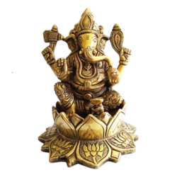 Decorative Brass Ganesha Sitting in Lotus Idol  size - 4.5x5.5In - 4.5x5.5