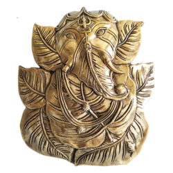 Brass Pipal Leaf Ganesha with Trishul on Forehead Wall Hanging Idol size - 7.5x8.5In - 7.5x8.5