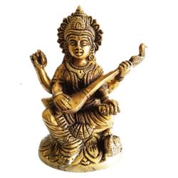 Spritual Goddess Saraswathi Brass Statue size - 4.5x5In - 4.5x5