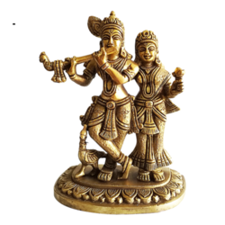Decorative Radhakrishna Brass Statue with Flute size - 5.5x7In - 5.5x7