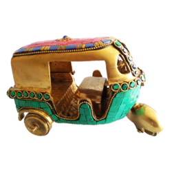 Designer Brass Auto Ricksaw with Gem Stone Showpiece size - 7x4In - 7x4