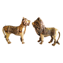 Brass Lion with Pair Set  size - 9x4.5In - 9x4.5