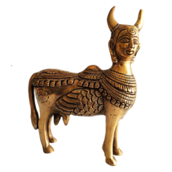 Brass Kamdhenu Cow Statue size - 6x7.5In - 6x7.5