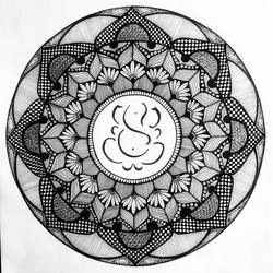 Ganpati Mandala Ink Art size - 12x12In - 12x12