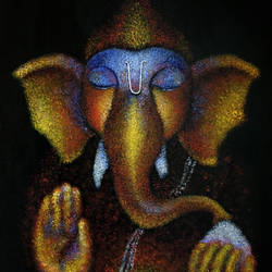 Lord Ganesha Hand painted Acrylic Painting size - 24x18In - 24x18