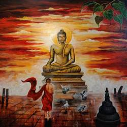 Buddha and monk child 8 size - 30x30In - 30x30