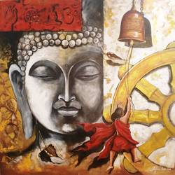 Buddha and monk child 9 size - 36x36In - 36x36