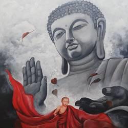 buddha and monk 10 size - 36x48In - 36x48
