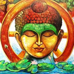 Devotion of Buddha size - 60x36In - 60x36