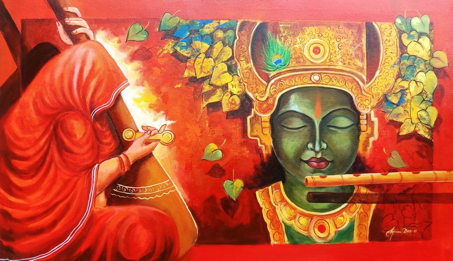meera ke krishna 11, 39 x 24 inch, arjun das,39x24inch,canvas,religious paintings,radha krishna paintings,contemporary paintings,paintings for dining room,paintings for living room,paintings for office,paintings for hotel,paintings for dining room,paintings for living room,paintings for office,paintings for hotel,acrylic color,GAL011228285,meera ke krishna 11 size - 39x24in,ADR911228285
