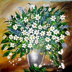 FLOWER PAINTING size - 12.5x13In - 12.5x13