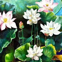 The Devine lotus  size - 72x36In - 72x36