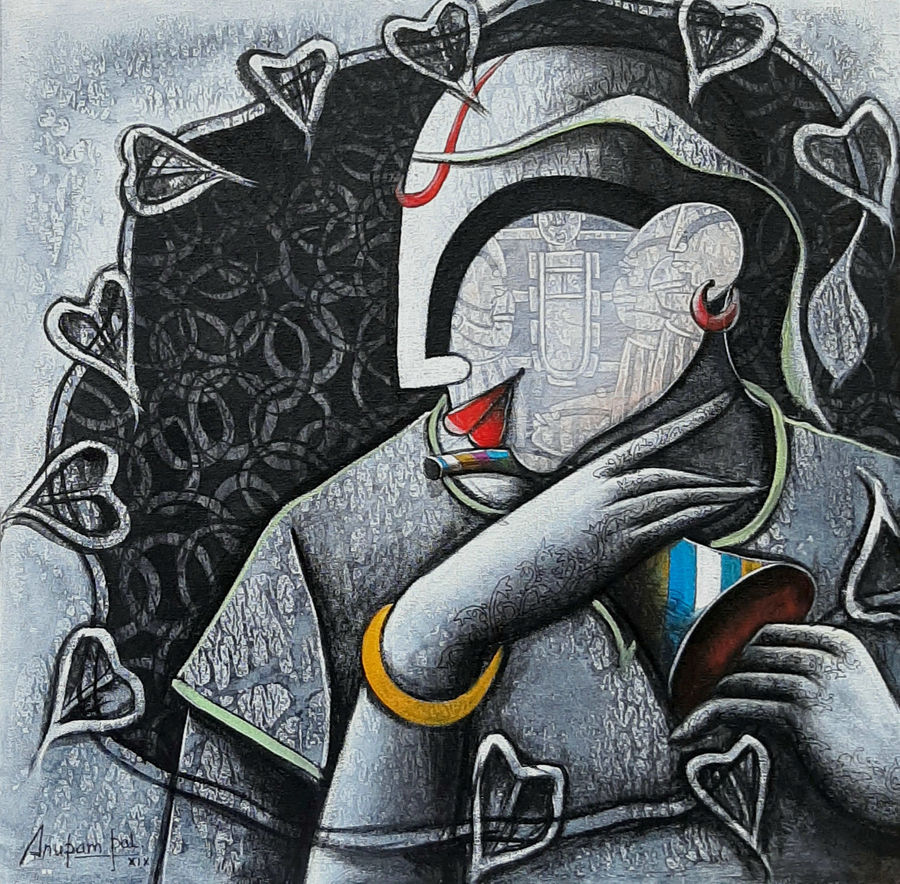 tunes of devotion 6, 20 x 20 inch, anupam  pal,20x20inch,canvas,paintings,buddha paintings,figurative paintings,folk art paintings,modern art paintings,contemporary paintings,paintings for dining room,paintings for living room,paintings for bedroom,paintings for office,paintings for bathroom,paintings for kids room,paintings for hotel,paintings for kitchen,paintings for school,paintings for hospital,acrylic color,GAL08228331,tunes of devotion 6 size - 20x20in,ADR98228331