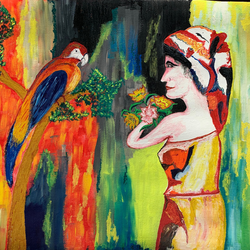 Lady with the parrot size - 21x16In - 21x16