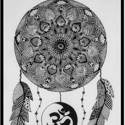 Dream Catcher, Yin Yang, Om, Doodle Art Work size - 11x16In - 11x16