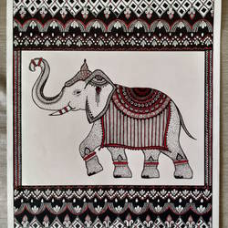 Royal Indian Elephant, Ink Doodle Art Work, Ornate Ethnic size - 11x16In - 11x16