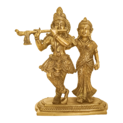 Romancing Lord  Radha Krishna Playing Flute Brass Statue size - 2.5x7.5In - 2.5x7.5