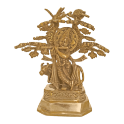 Cute Lord Krishna Enjoys Playing Flute Under Tree Brass Statue size - 5x9.5In - 5x9.5