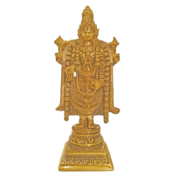 Beautiful Golden Lord Venkateswara Brass Statue With Antique Finish size - 3x8In - 3x8