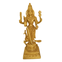 Pure Brass Statue of God Karthikeya with Beautiful Peacock size - 3x8.5In - 3x8.5