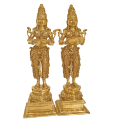 Beautiful Handcarved Pair Of Girls Holding A Diya in Hand Brass Statue size - 5x16In - 5x16