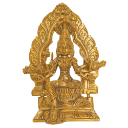 Holy Goddess Sri Annai Kalikambal Brass Statue with Arch size - 2.5x6In - 2.5x6