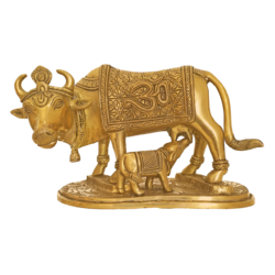 Handcurved Kamadhenu Cow Feeding Calf Brass Statue size - 9.5x5.5In - 9.5x5.5