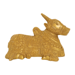 Pure Golden Designed Nandhi Brass Staue size - 3.5x5In - 3.5x5