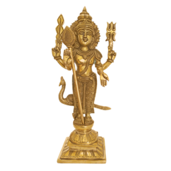 Brass Blessing Lord Velan Statue size - 3.5x11.5In - 3.5x11.5