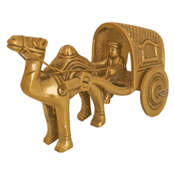 Handcurved Brass Camel Cart Showpiece size - 2.5x3.5In - 2.5x3.5