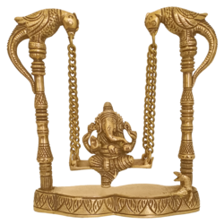 Religious God Ganesha Murti Sitting on Parrot Julla Brass Statue size - 2x8In - 2x8