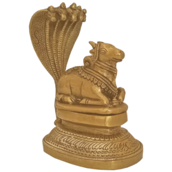Decorative God Nandhi Sitting under Five Heads of Garuda Brass Statue size - 2x5In - 2x5