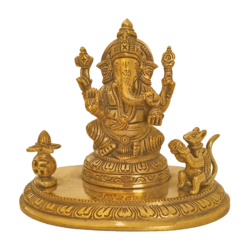 Holy God Shri Ganesha Sitting With Mouse and Kalasam Brass Statue size - 3x6In - 3x6