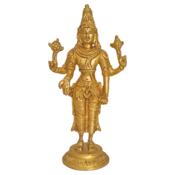 Golden Brass Blessing Lord Vishnu Statue size - 2x7In - 2x7
