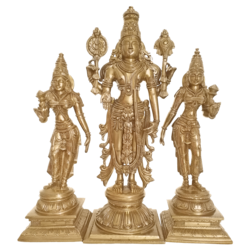 Bengaluru Bronze Lord Vishnu Narayana standing With Two Devi's Sclupture size - 4.5x14In - 4.5x14