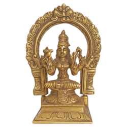 Divine Goddess Sri Meenakshi Amman With Beautiful Parrot Brass Statue size - 2.5x6.5In - 2.5x6.5