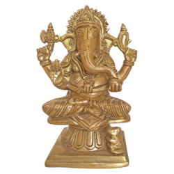 Blessing Golden Sri Ganesha Sitting on Chakra Brass Statue size - 3x6.5In - 3x6.5