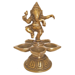 Decorative Brass Dancing Ganesha Puja Diya With Five Face Jyot Showpiece size - 2x6.5In - 2x6.5