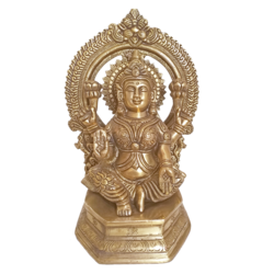 Blessing Brass Goddess Lakshmi with Arch Statue size - 4x10.5In - 4x10.5