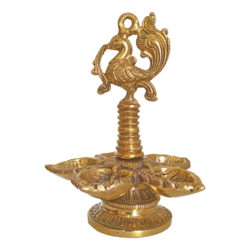 Decorative Antique Golden Peacock Puja Brass Diya Five Faced Jyot showpiece size - 3x7In - 3x7
