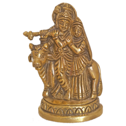Brass Idol of Radha Krishna Playing Flute with Cow size - 1x4In - 1x4