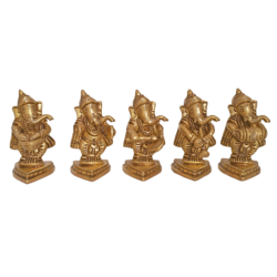 Set of 5 Multi Musician Ganesha Brass Idol Showpiece size - 1.5x3In - 1.5x3