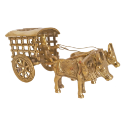 Traditional and Modern Brass Bullock Cart Open Jalli Showpiece size - 2.5x3In - 2.5x3