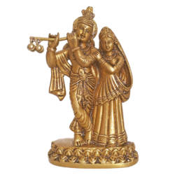 Brass Beautiful Krishna Enjoyng Flute Music with Devi Radha Statue size - 1x5.5In - 1x5.5