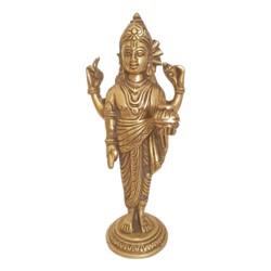 Brass Dhanvantri Holding the Vase Of Immortality And Herbs Sculpture size - 2x8In - 2x8