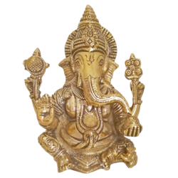 Holy God Valampuri Vinayagar Sitting Brass Statue size - 3x6.5In - 3x6.5