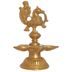 Pure Brass Golden Peacock Diya with Five Faced Jyot Showpiece size - 2x7In - 2x7