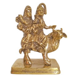Divine Lord Shiva Parvathi and Ganesha Sitting on Cow Brass Statue size - 2x5In - 2x5
