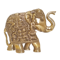 Antique Finish Brass Elephant Raising Its Trunk Showpiece size - 2x6In - 2x6